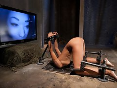 Skin Diamond is finger fucked, throat fucked, pussy fucked, and ass fucked. The device slut turned fuck toy is caned, whipped, vibed and wrecked.