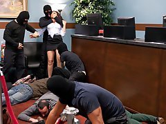 Fantasy role-play update where a sexy bank teller gets handcuffed and gangbanged by masked bank robbers.