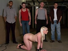 Lorelei Lee gets tied up and gangbanged in a metal shop