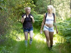 Two Beautiful hikers get trapped in the woods and fucked in bondage.