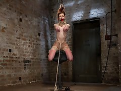 Iona submits to a day of harsh breast bondage, hogtie rope suspension, sybian, predicament bondage, partial breast suspension, and suction tubes.