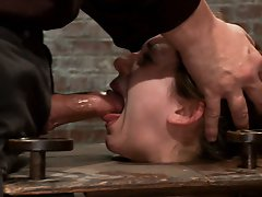 Remy is bound in an open frame wooden box with her knees up and made to repeatedly cum as she gets faced fucked by the one and only Matt Williams.