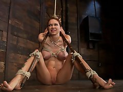 Skinny girl with massive boobs, long legs, suffers a category 5 suspension and skull fucking. Brutal bondage, devastating orgasms. Art at it's fi