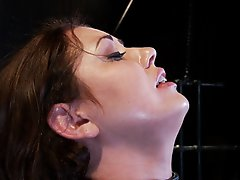 Watch sexy Sarah suffer. She is defaced with a skin-tight latex mask with only a rubber tube to breath out of- Sensory deprivation looks good on her.
