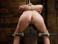 Chastity Lynn suspended by one knee, given challenging predicament bondage, tormented with canes, and made to cum many many times.