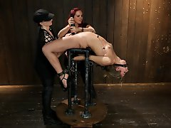 Chastity is pushed to the max LIVE in an incredible back arch on cold hard pipe, upping the ante, Claire adds a zipper predicament with Audrey.
