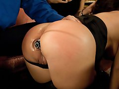 Mason cums and cries in threesome BDSM sex with anal.