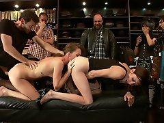 James Deen sticks his cock deep in Princess Donna's ass and shoves it right down their slut for the day, Maddy O'Reily's, throat.