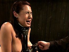 Amateur cam girl, Eden Coxxx, is bound in metal turned into a sweaty mess. Fucked, whipped and caned then hung upside down with a sybian on her cunt.
