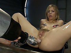 The kitchen sink was next: Fucking Chastity Lynn with every big cock and fast machine in the room. Double Anal, Goat Milkers, tit clamps, pussy bangin