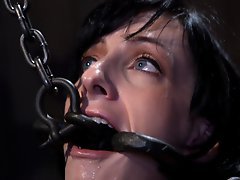 This noir style shoot features 3 outstanding scenes with custom metal devices, wood, and leather suspension predicament bondage administered by JP.