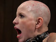 Alani got her head shaved in episode one. Now she is covered in hot wax from head to foot. Watch this attention-whore get flogged, ass-hooked, and fuc