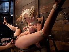 Sexy blond with pig tails, braces and big tits is bound spread, is gagged, abused made to cum with vibrator and fingers. Helpless to stop the orgasms.