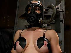 Darling endures heavy titty torment with lots of weights, electrodes. She's brutally machine fucked into submission. Orgasms ripped from bondage