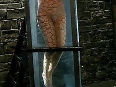 Leggy suntanned blond get tied up and water tortured