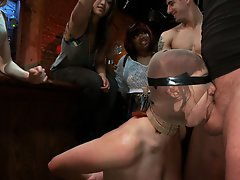 Local model Odile takes the Public Disgrace challenge with bondage, fisting, ass fucking, blowjobs, and BDSM all in front of a horny crowd.