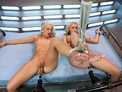 The HOTTEST blonds bound,machine fucked until they quiver, fisted by Princess Donna,ass andpussy fucked by Fucksalls while the ropes pin them to the b