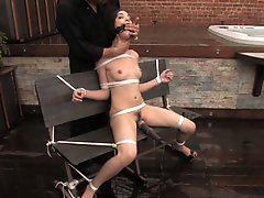 Sexy brunette, get tied up sprayed, dunked and fucked.