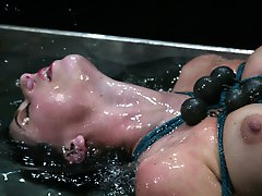 Lola oozes sexuality and endures endless nipple torture in a tank