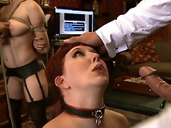 House slave grace is placed in tight and restrictive rope bondage and made to fight robot for the Steward's cock in her mouth.