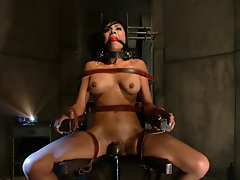 Captured woman undergoes sexual conditioning and fucked in bondage.