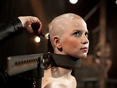 Part 1 of Alani Pi's DeviceBondage.com Live Show - Alani's head gets completely shaved while in metal stocks and tormented with pain and ple