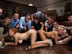 A group of nerdz get revenge on the two most popular girls on campus. Super hot 9 guy, 2 girl gangbang.