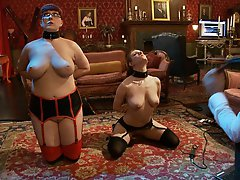 House slaves robot and grace kick off the hitachi ban with a romp on the carpet using dildos, eager mouths and hands for their reward after a correcti