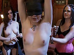 An all lady event on The Upper Floor. The house slaves gang up on fresh meat at the Governess' command and many many orgasms are had on the floor