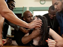 Sexy MILF Eva Karrera is dominated by black cock and stuffed airtight in this amazing interracial gangbang feature movie.