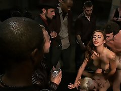 Katie Summers is bound in tight bondage with a bag over her head, fisted, dp'ed, made to suck cock, lick pussy and eat cum of of Princess Donna&a