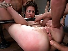 Brand new girls has 3 firsts at kink.com. First bondage, first gangbang, and first DP. This amateur hottie takes it all like a champ.
