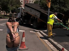 Adorable Spanish girl gets fully nude in public and crawls like a dog on her hands and knees