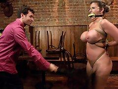 Big tit MILF fucked in hard bondage and humiliated.